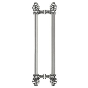 """Carpe Diem Hardware Back To Back 12"""" Centers Approx With 5/8"""" Reeded Center Long Pull With Swarovski Crystals In Satin"""