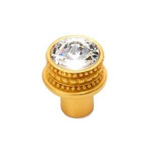 Carpe Diem Hardware Large Round Knob in Antique Brass with Aurora Boreal Crystal