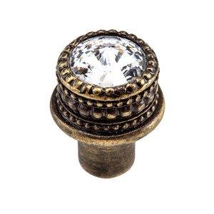 """Carpe Diem Hardware 1"""" Medium Round Knob with 16mm Swarovski Elements in Antique Brass with Crystal"""