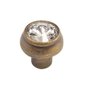 """Carpe Diem Hardware 1 1/4"""" Round Knob with Swarovski Elements in Antique Brass with Crystal"""