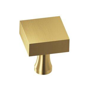 "Colonial Bronze 1 1/4"" Square Knob in Satin Brass"