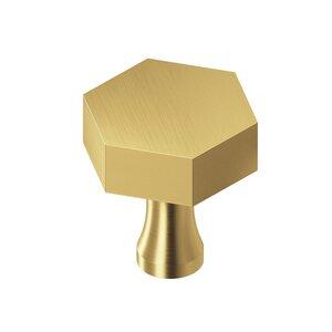 "Colonial Bronze 1 1/4"" Hex Knob in Satin Brass"