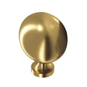 "Colonial Bronze 1 1/2"" Long Oval Knob in Satin Brass"