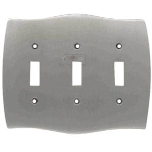 Colonial Bronze - Triple Toggle Colonial Switchplate in Satin Nickel