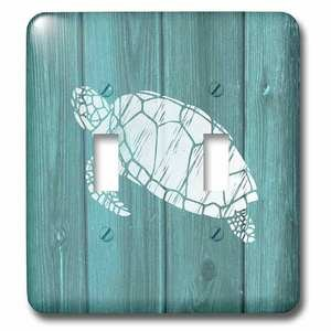 Jazzy Wallplates Double Toggle Wallplate With Turtle Stencil In White Over Teal Weatherboard (Not Real Wood)
