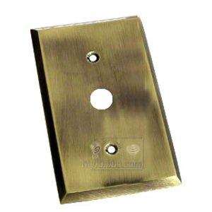 Colonial Bronze Square Bevel Cable Jack Switchplate in Antique Brass