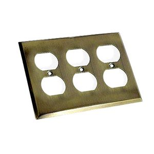Colonial Bronze Square Bevel Triple Duplex Outlet Switchplate in Antique Brass