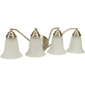 Craftmade Quadruple Bath Light in Brushed Nickel with Alabaster Glass