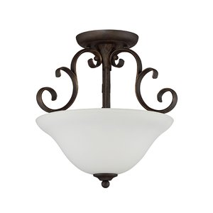 Craftmade - 3 Light Semi Flush in Metropolitan Bronze with White Frosted Glass