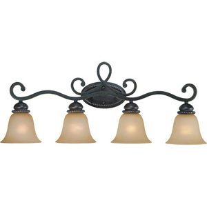 Craftmade Quadruple Bath Light in Mocha Bronze with Painted Etched Glass