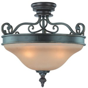 """Craftmade 20 1/2"""" Semi Flush Light in Mocha Bronze with Painted Etched Glass"""