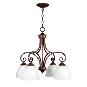 Craftmade 4 Light Chandelier in Oiled Bronze with White Frosted Glass