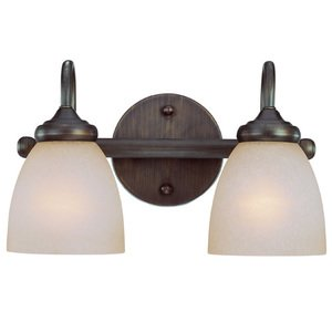 Craftmade Double Bath Light in Bronze with Painted Etched Glass