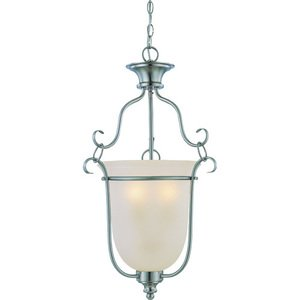 "Craftmade 17"" Foyer Pendant Light in Satin Nickel with Pressured Glass"