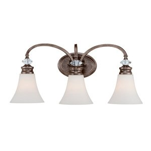 Craftmade - 3 Light Vanity in Mocha Bronze with White Frosted Glass