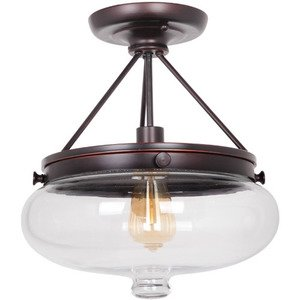 Craftmade Semi Flush Light in Oiled Bronze Gilded and Antique Clear Glass