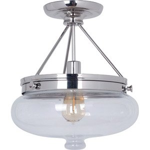 Craftmade Semi Flush Light in Polished Nickel and Antique Clear Glass