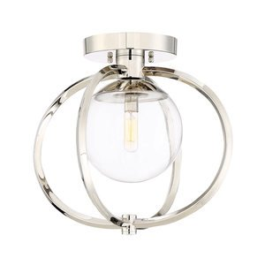 Craftmade 1 Light Semi Flush in Polished Nickel