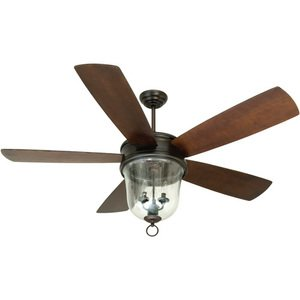 """Craftmade 60"""" Ceiling Fan in Oiled Bronze Gilded with Blades and Integrated Light Kit"""