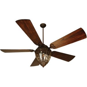 "Craftmade 70"" Ceiling Fan in Aged Bronze with Premier Blades in Hand Scraped Walnut and Integrated Light Kit"