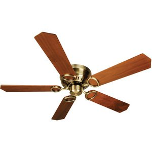 "Craftmade - 52"" Universal Hugger Ceiling Fan in Antique Brass with Custom Wood Blades in Walnut"