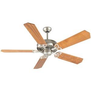 "Craftmade 52"" Ceiling Fan in Brushed Nickel with Custom Wood Blades in Walnut"