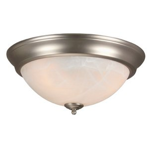 """Craftmade 15"""" Flush Mount Light in Brushed Nickel with Alabaster Swirl Glass"""