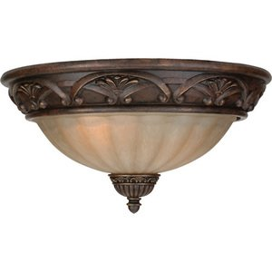 "Craftmade 16"" Flush Mount Light in Aged Bronze with Tea Stained Glass"