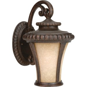 """Craftmade 8"""" Exterior Wall Light in Peruvian Bronze with Antique Scavo Glass"""