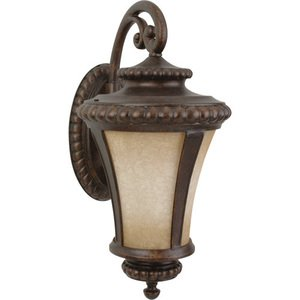 """Craftmade 12"""" Exterior Wall Light in Peruvian Bronze with Antique Scavo Glass"""