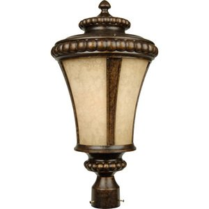 """Craftmade 12"""" Exterior Post Light in Peruvian Bronze with Antique Scavo Glass"""
