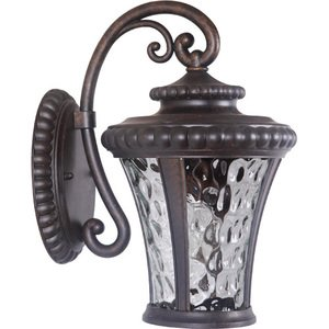 "Craftmade 8"" Exterior Wall Light in Peruvian Bronze with Clear Hammered Glass"