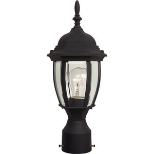 """Craftmade 6 1/2"""" Exterior Post Mount in Matte Black with Clear Beveled Glass"""