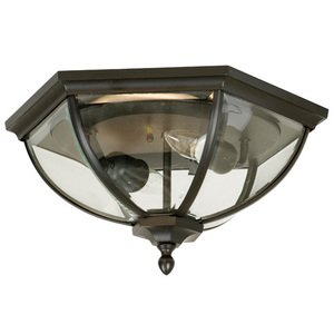 """Craftmade 15"""" Flush Mount Exterior Light in Oiled Bronze with Clear Beveled Glass"""