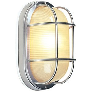 """Craftmade 6 1/2"""" Flush Mount Exterior Light in Stainless Steel with Frosted Halophane Glass"""