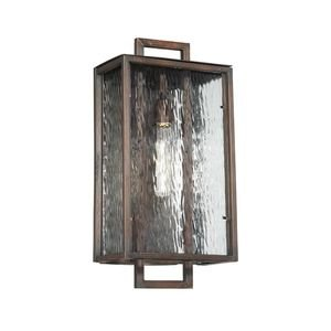 Craftmade Cubic 1 Light Large Wall Mount in Aged Bronze Brushed with Clear Water Glass