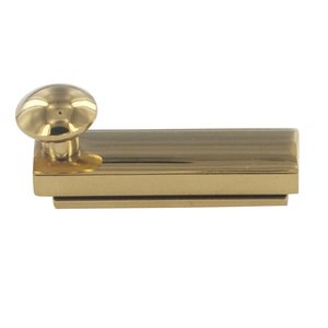 "Deltana Hardware Solid Brass 2"" Heavy Duty Surface Bolt with Concealed Screws in PVD Brass"