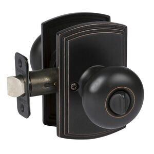 Delaney Hardware Privacy Santo Knob in Edged Oil Rubbed Bronze