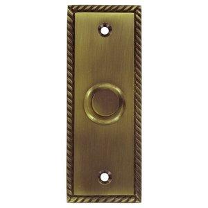 Deltana Hardware Solid Brass Rectangular Rope Bell Button in Antique Brass