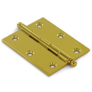 """Deltana Hardware Solid Brass 3"""" x 2 1/2"""" Mortise Cabinet Hinge with Ball Tips (Sold as a Pair) in PVD Brass"""