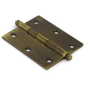"Deltana Hardware Solid Brass 3"" x 2 1/2"" Mortise Cabinet Hinge with Ball Tips (Sold as a Pair) in Antique Brass"