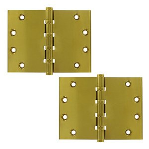 """Deltana Hardware Solid Brass 4 1/2"""" x 6"""" 4 Ball Bearing Square Lifetime Finish Door Hinge (Sold as a Pair) in PVD Brass"""