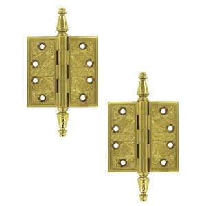 """Deltana Hardware Solid Brass 3 1/2"""" x 3 1/2"""" Square Door Hinge (Sold as a Pair) in PVD Brass"""