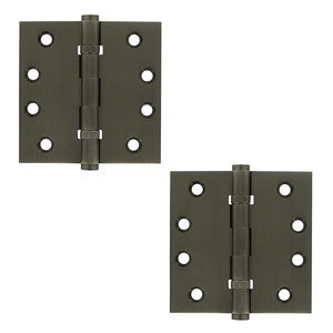 "Deltana - Solid Brass 4"" x 4"" 2 Ball Bearing Square Door Hinge (Sold as a Pair) in Antique Nickel"