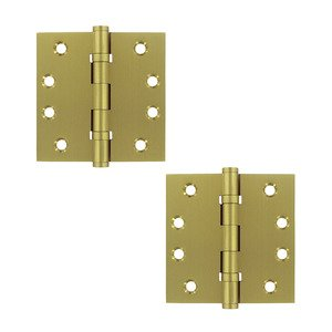 """Deltana Hardware Solid Brass 4"""" x 4"""" 2 Ball Bearing Square Door Hinge (Sold as a Pair) in Satin Brass"""