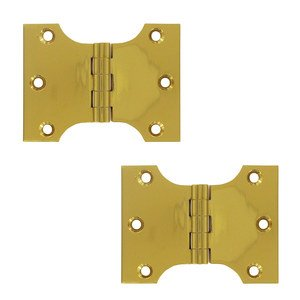 """Deltana Hardware Solid Brass 3"""" x 4"""" Parliament Door Hinge (Sold as a Pair) in PVD Brass"""