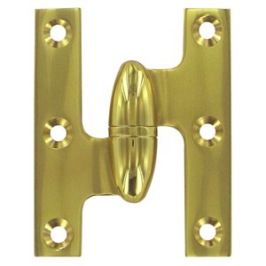 "Deltana - Solid Brass 2 1/2"" x 2"" Left Handed Olive Knuckle Hinge (Sold Individually) in Polished Brass"