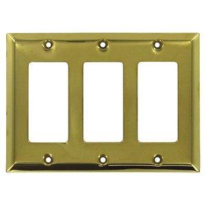 Deltana Hardware Solid Brass Triple Rocker Switchplate in PVD Brass