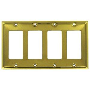 Deltana Hardware Solid Brass Quadruple Rocker Switchplate in PVD Brass