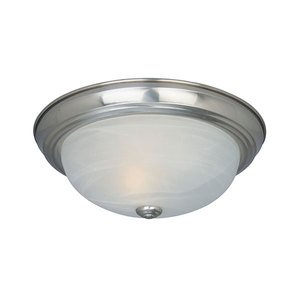 "Designers Fountain Lighting - Decorative Flushmount - 11"" Small Flushmount in Satin Platinum with White Alabaster"